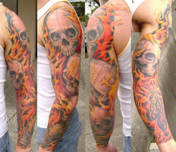 Skull And Flame Sleeve Tattoos